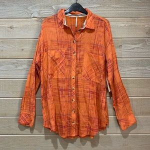 Free People Light Knit Button Down